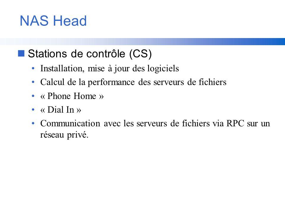 NAS Head nStations de contrôle (CS) Installation, mise à jour des logiciels Calcul de la performance des serveurs de fichiers « Phone Home » « Dial In