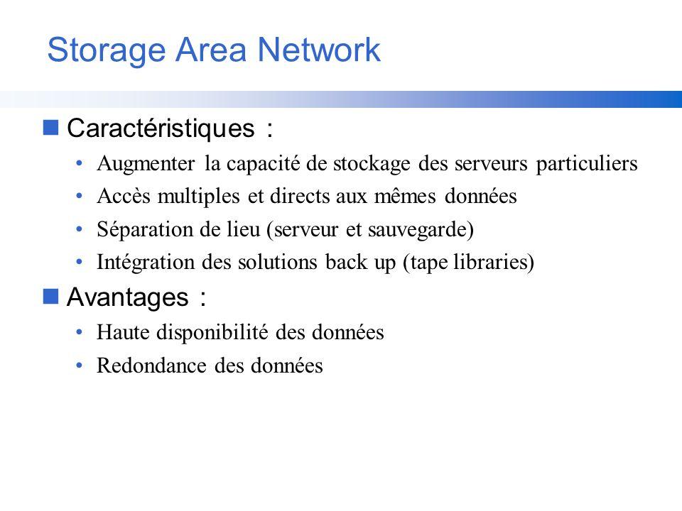 Storage Area Network nCaractéristiques : Augmenter la capacité de stockage des serveurs particuliers Accès multiples et directs aux mêmes données Sépa