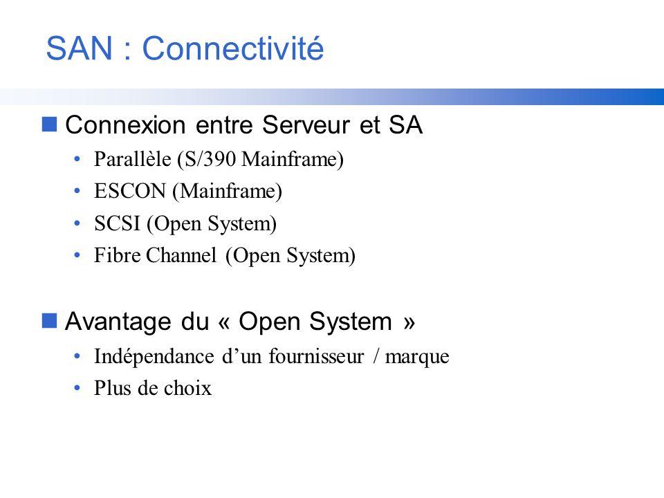 SAN : Connectivité nConnexion entre Serveur et SA Parallèle (S/390 Mainframe) ESCON (Mainframe) SCSI (Open System) Fibre Channel (Open System) nAvanta