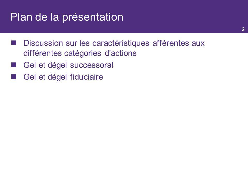 2 Plan de la présentation Discussion sur les caractéristiques afférentes aux différentes catégories dactions Gel et dégel successoral Gel et dégel fiduciaire