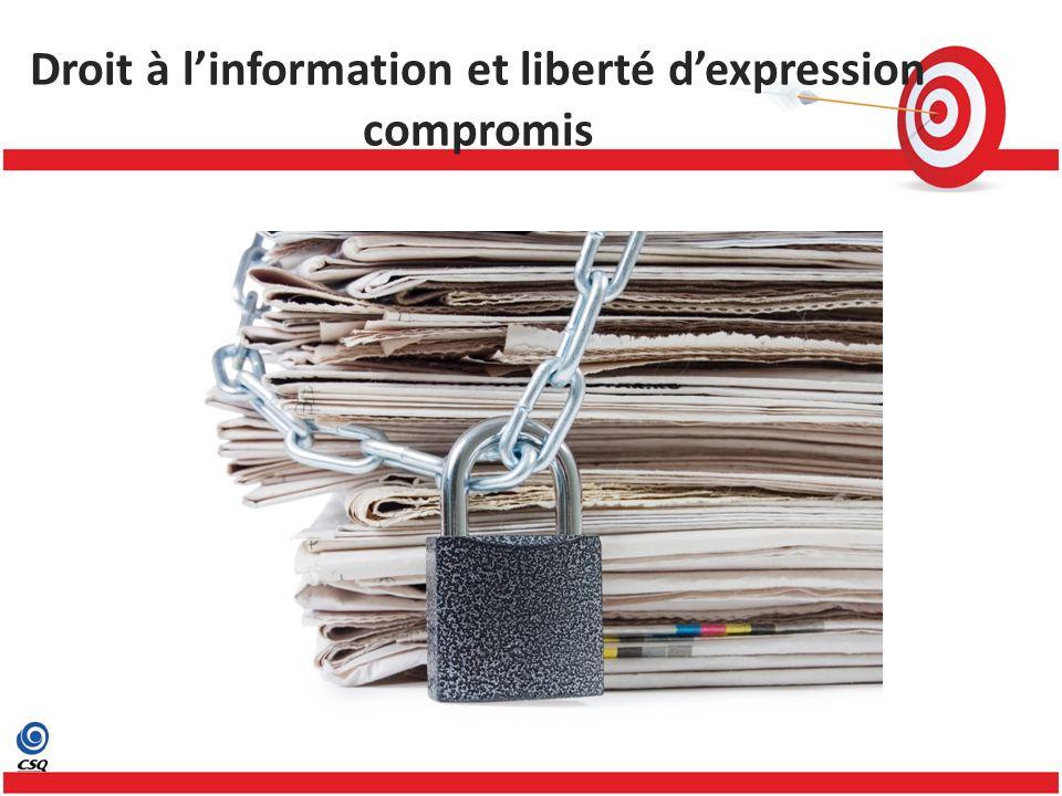 Droit à linformation et liberté dexpression compromis