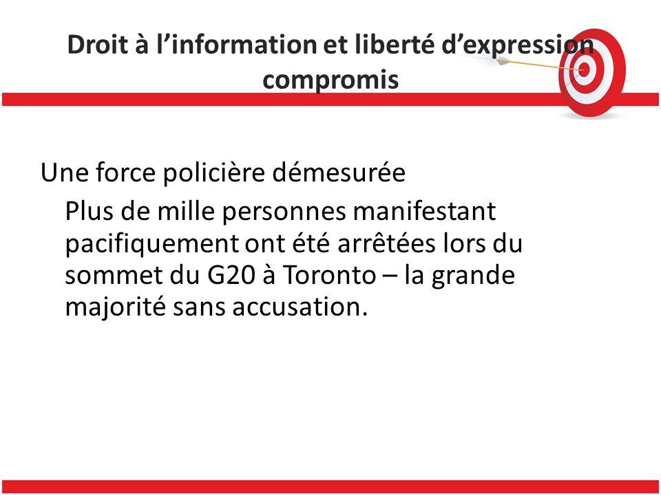 Droit à linformation et liberté dexpression compromis Une force policière démesurée Plus de mille personnes manifestant pacifiquement ont été arrêtées