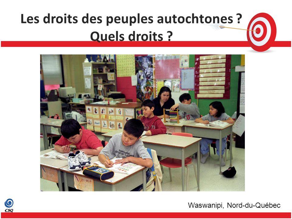 Les droits des peuples autochtones Quels droits Waswanipi, Nord-du-Québec
