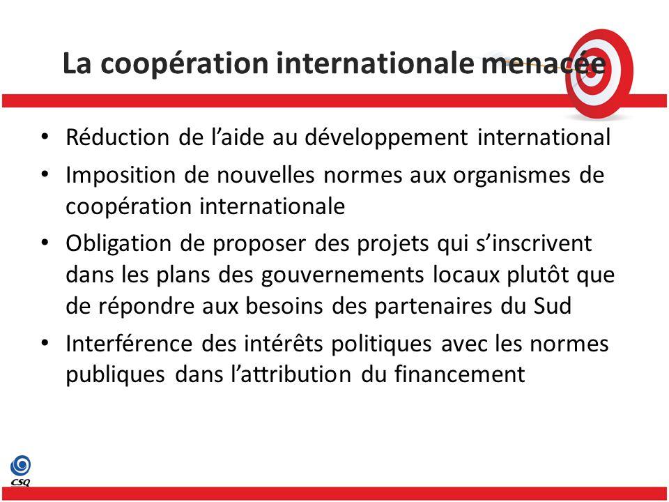 Réduction de laide au développement international Imposition de nouvelles normes aux organismes de coopération internationale Obligation de proposer des projets qui sinscrivent dans les plans des gouvernements locaux plutôt que de répondre aux besoins des partenaires du Sud Interférence des intérêts politiques avec les normes publiques dans lattribution du financement