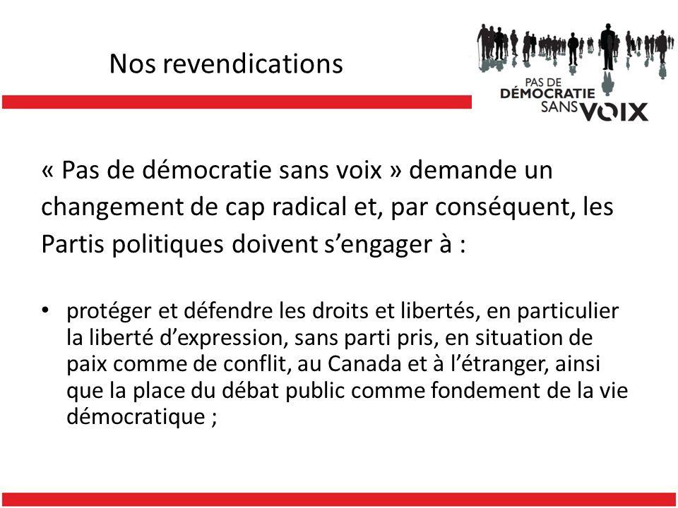 Nos revendications « Pas de démocratie sans voix » demande un changement de cap radical et, par conséquent, les Partis politiques doivent sengager à :