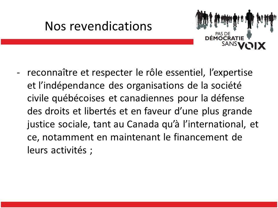 Nos revendications -reconnaître et respecter le rôle essentiel, lexpertise et lindépendance des organisations de la société civile québécoises et canadiennes pour la défense des droits et libertés et en faveur dune plus grande justice sociale, tant au Canada quà linternational, et ce, notamment en maintenant le financement de leurs activités ;