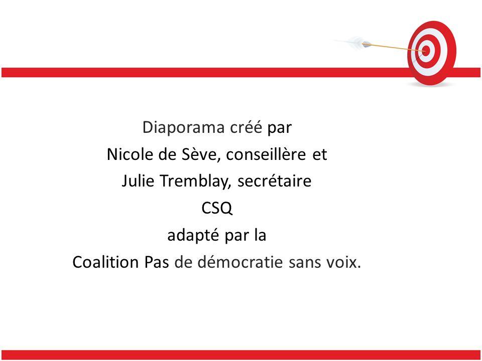 Diaporama créé par Nicole de Sève, conseillère et Julie Tremblay, secrétaire CSQ adapté par la Coalition Pas de démocratie sans voix.