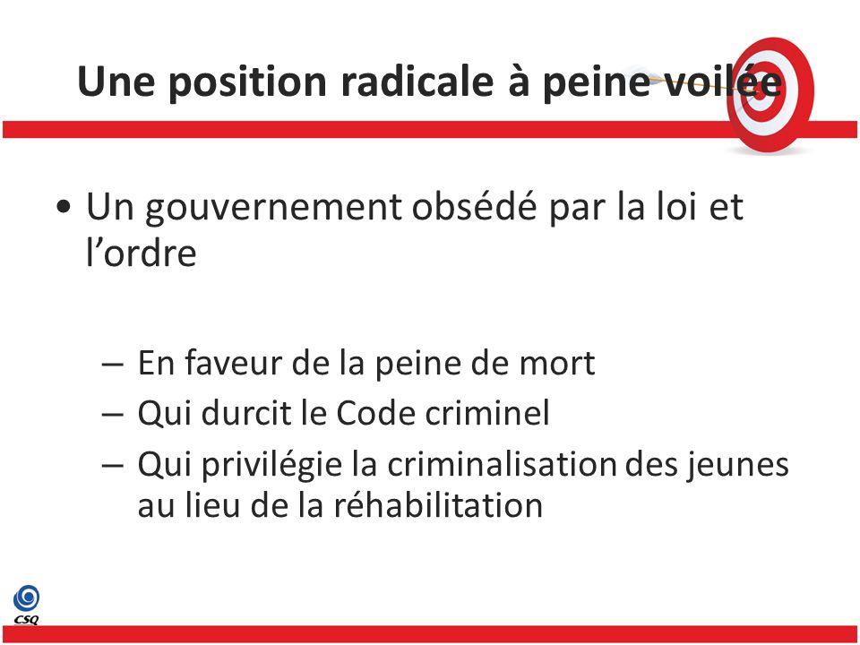 Une position radicale à peine voilée Un gouvernement obsédé par la loi et lordre – En faveur de la peine de mort – Qui durcit le Code criminel – Qui p