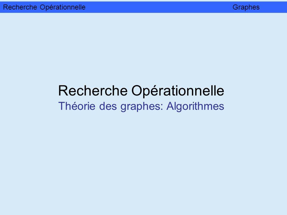 Recherche Opérationnelle Théorie des graphes: Algorithmes Recherche OpérationnelleGraphes