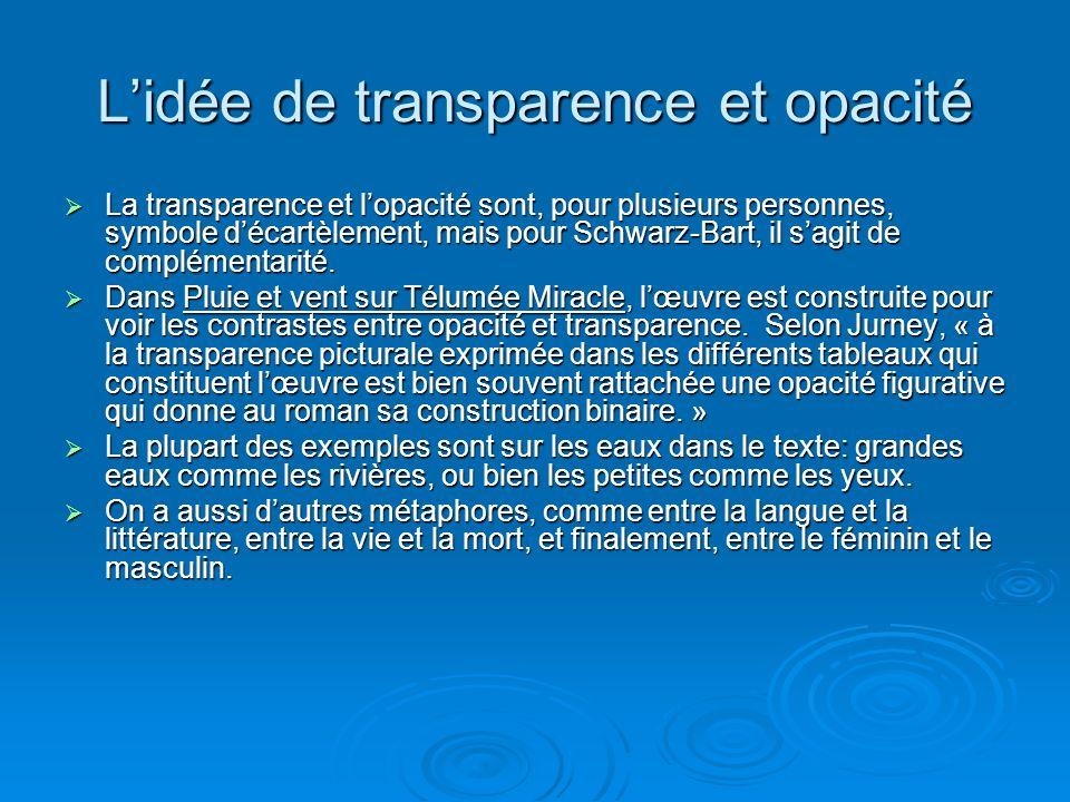 Lidée de transparence et opacité La transparence et lopacité sont, pour plusieurs personnes, symbole décartèlement, mais pour Schwarz-Bart, il sagit d