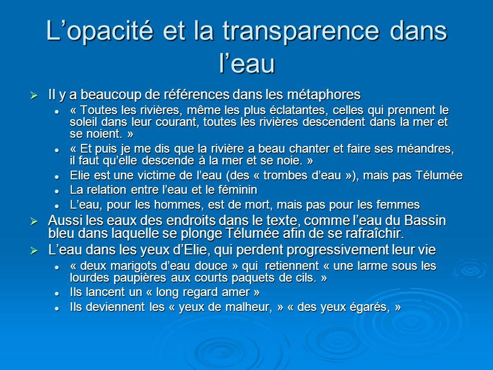 Lopacité et la transparence dans leau Il y a beaucoup de références dans les métaphores Il y a beaucoup de références dans les métaphores « Toutes les