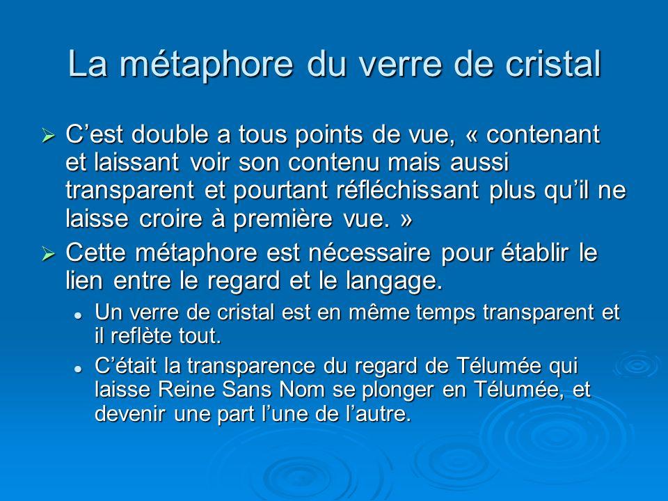 La métaphore du verre de cristal Cest double a tous points de vue, « contenant et laissant voir son contenu mais aussi transparent et pourtant réfléch