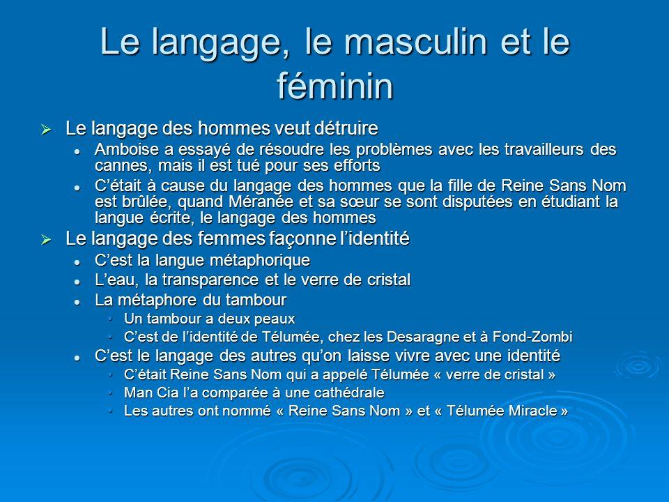 Le langage, le masculin et le féminin Le langage des hommes veut détruire Le langage des hommes veut détruire Amboise a essayé de résoudre les problèm