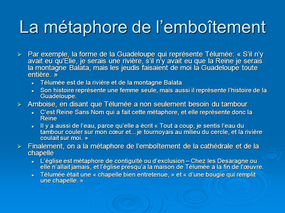 La métaphore de lemboîtement Par exemple, la forme de la Guadeloupe qui représente Télumée: « Sil ny avait eu quElie, je serais une rivière, sil ny av