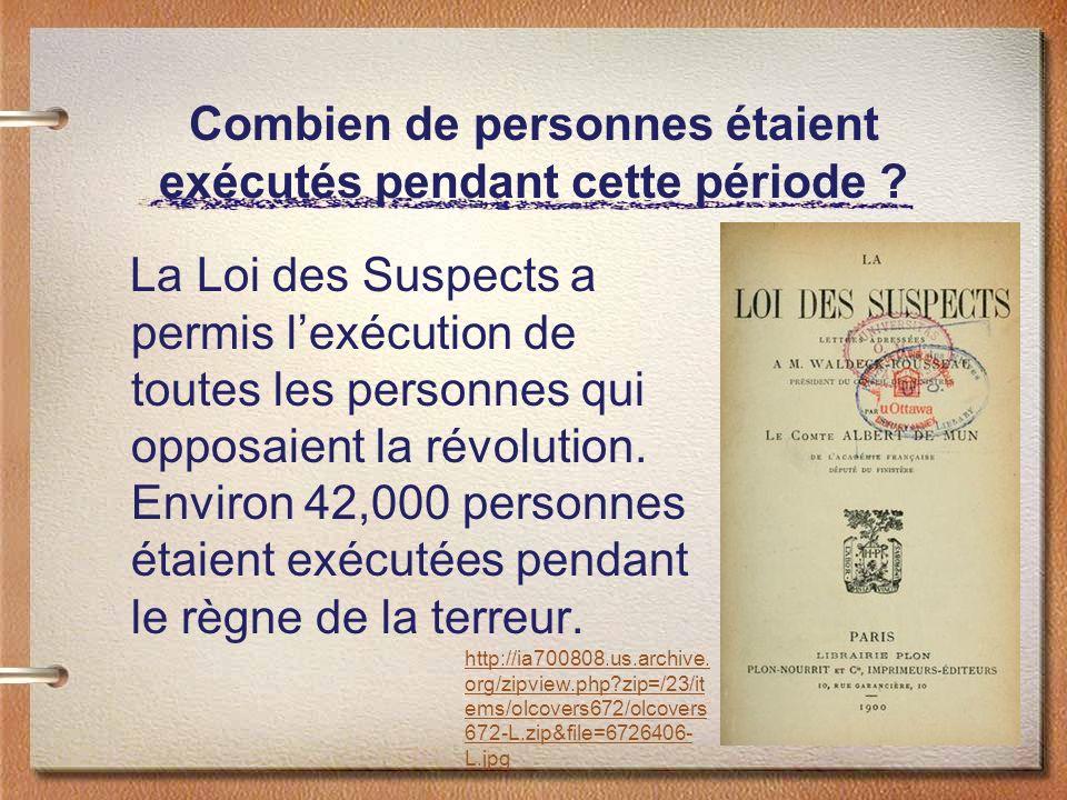 Combien de personnes étaient exécutés pendant cette période ? La Loi des Suspects a permis lexécution de toutes les personnes qui opposaient la révolu