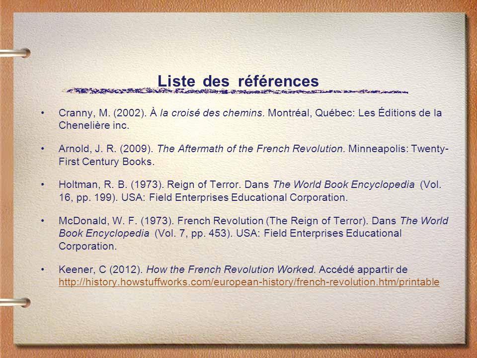 Liste des références Cranny, M. (2002). À la croisé des chemins. Montréal, Québec: Les Éditions de la Chenelière inc. Arnold, J. R. (2009). The Afterm