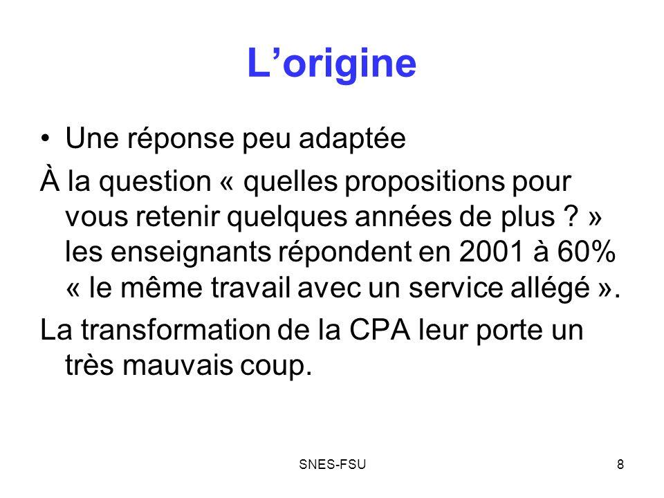 SNES-FSU9 Lorigine La seconde carrière pour plus tard A la question « Vers quel âge un changement dorientation professionnelle (la seconde carrière) vous paraîtrait-il opportun .