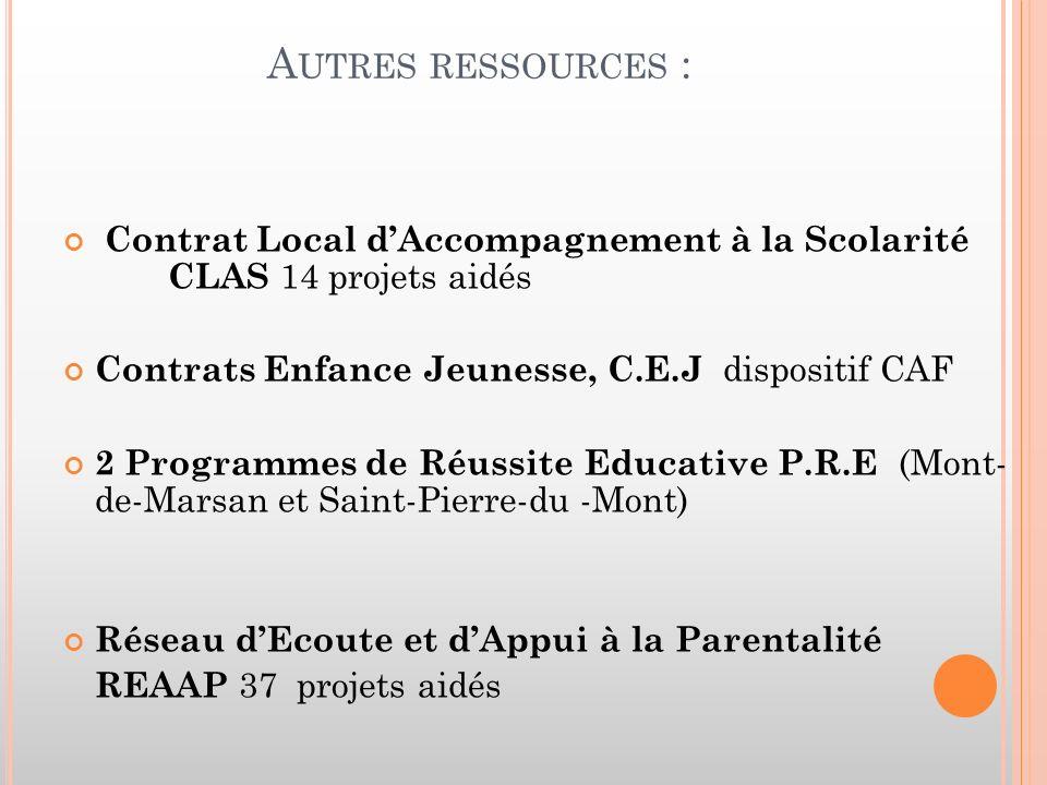 A UTRES RESSOURCES : Contrat Local dAccompagnement à la Scolarité CLAS 14 projets aidés Contrats Enfance Jeunesse, C.E.J dispositif CAF 2 Programmes de Réussite Educative P.R.E (Mont- de-Marsan et Saint-Pierre-du -Mont) Réseau dEcoute et dAppui à la Parentalité REAAP 37 projets aidés