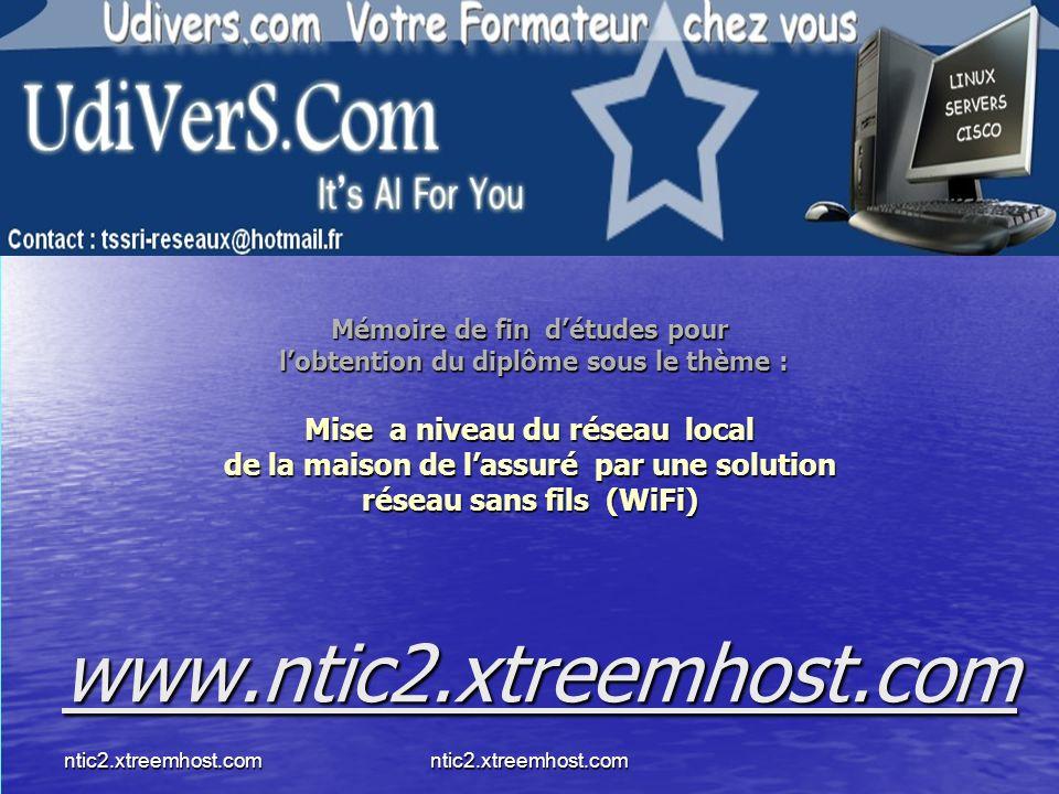 ntic2.xtreemhost.comntic2.xtreemhost.com Mémoire de fin détudes pour lobtention du diplôme sous le thème : Mise a niveau du réseau local de la maison de lassuré par une solution réseau sans fils (WiFi) www.ntic2.xtreemhost.com