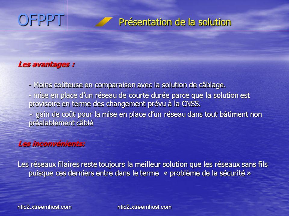 ntic2.xtreemhost.com OFPPT Présentation de la solution Les avantages : - Moins coûteuse en comparaison avec la solution de câblage.
