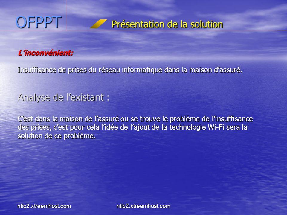 ntic2.xtreemhost.com OFPPT Présentation de la solution Linconvénient: Insuffisance de prises du réseau informatique dans la maison dassuré.