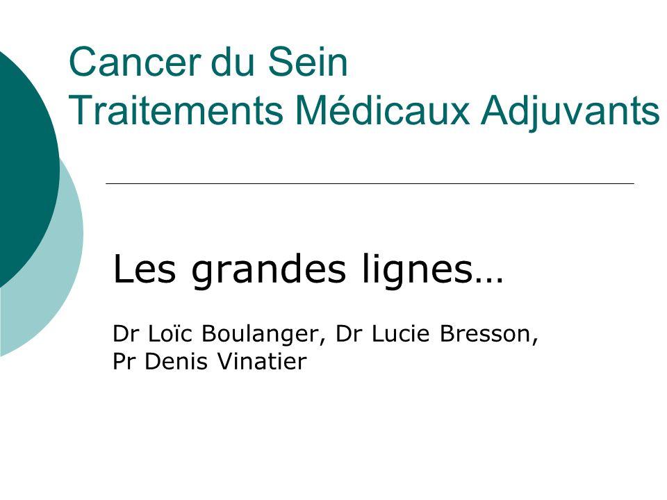Cancer du Sein Traitements Médicaux Adjuvants Les grandes lignes… Dr Loïc Boulanger, Dr Lucie Bresson, Pr Denis Vinatier