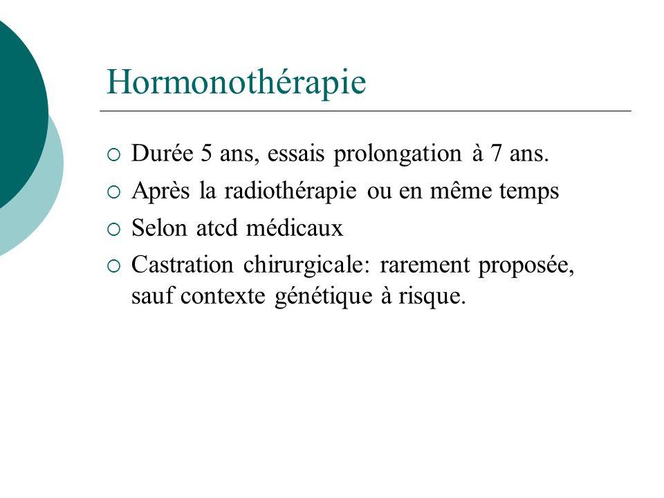 Hormonothérapie Durée 5 ans, essais prolongation à 7 ans. Après la radiothérapie ou en même temps Selon atcd médicaux Castration chirurgicale: raremen