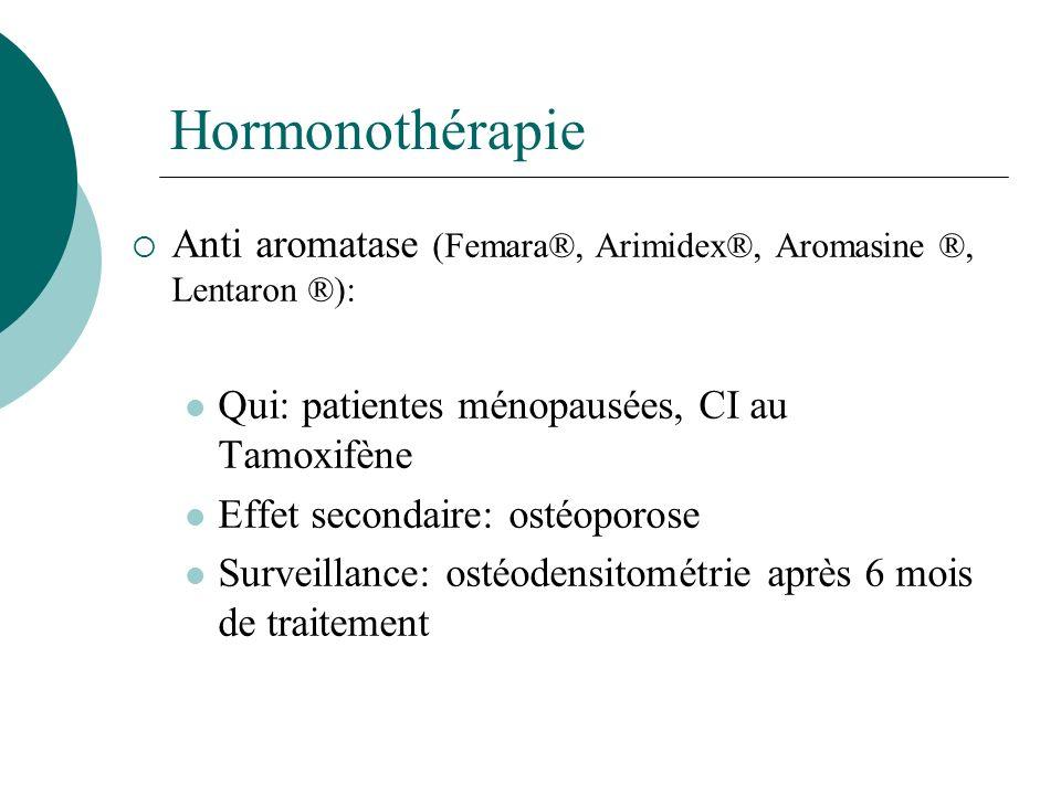 Hormonothérapie Anti aromatase (Femara®, Arimidex®, Aromasine ®, Lentaron ®): Qui: patientes ménopausées, CI au Tamoxifène Effet secondaire: ostéoporo