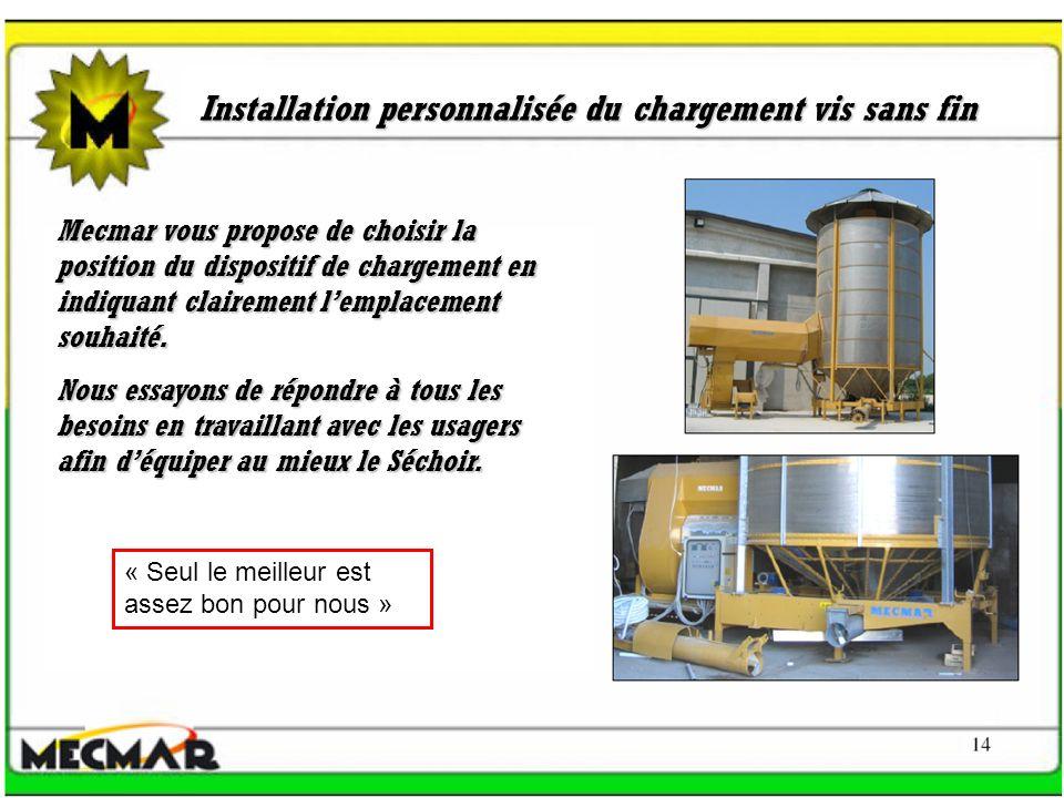 Installation personnalisée du chargement vis sans fin Mecmar vous propose de choisir la position du dispositif de chargement en indiquant clairement l
