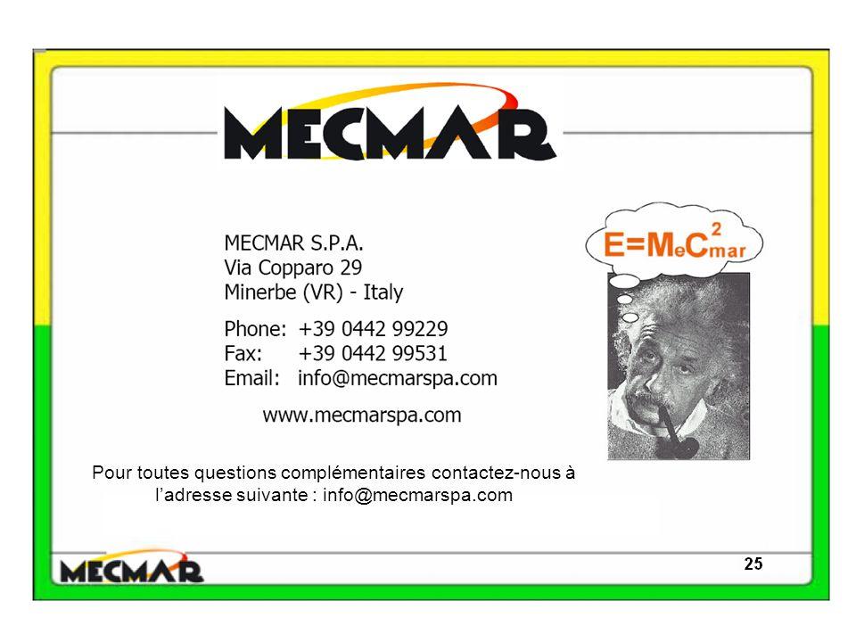 Pour toutes questions complémentaires contactez-nous à ladresse suivante : info@mecmarspa.com