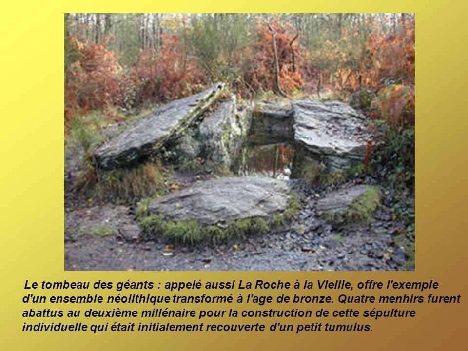 Le tombeau des géants : appelé aussi La Roche à la Vieille, offre l'exemple d'un ensemble néolithique transformé à l'age de bronze. Quatre menhirs fur