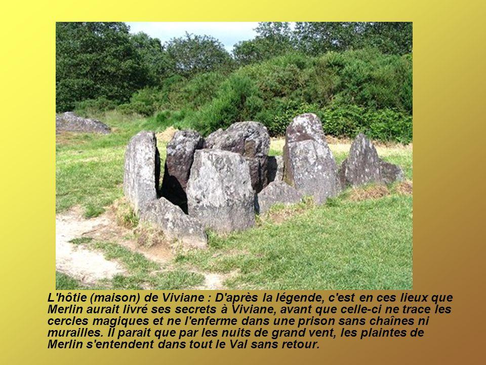 Le tombeau de Merlin : il s agit des restes d un mégalithe du néolithique, de type allée couverte, composé à l origine de huit blocs de schiste rouge d une dizaine de mètres.