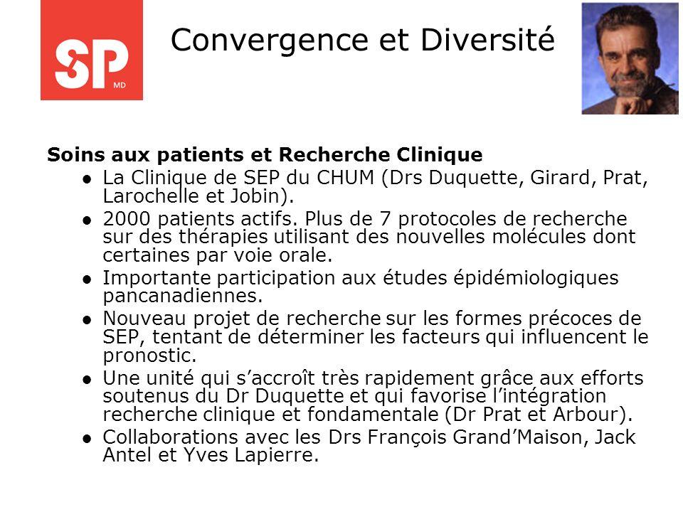 Soins aux patients et Recherche Clinique La Clinique de SEP du CHUM (Drs Duquette, Girard, Prat, Larochelle et Jobin). 2000 patients actifs. Plus de 7