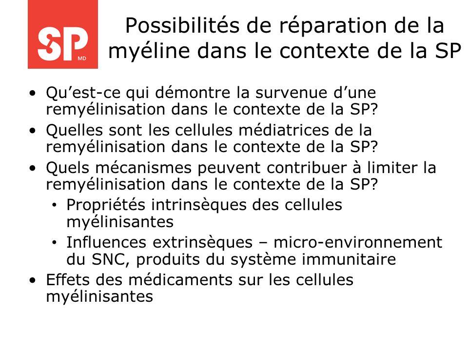 Possibilités de réparation de la myéline dans le contexte de la SP Quest-ce qui démontre la survenue dune remyélinisation dans le contexte de la SP? Q