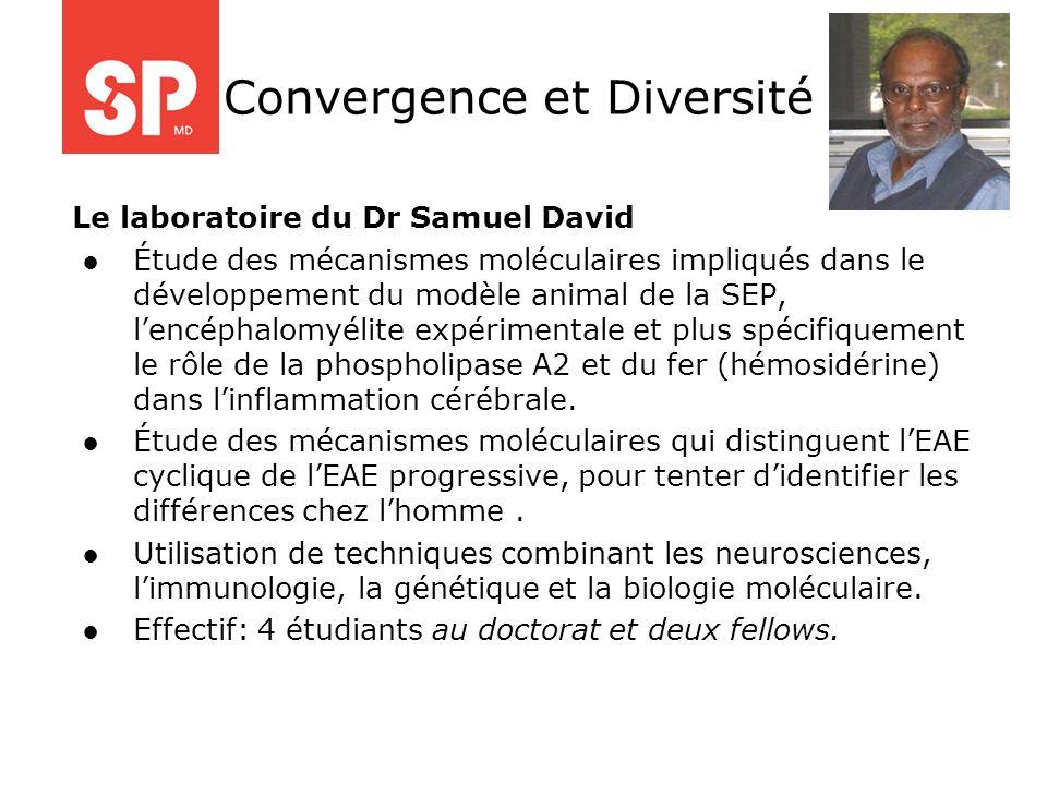 Le laboratoire du Dr Samuel David Étude des mécanismes moléculaires impliqués dans le développement du modèle animal de la SEP, lencéphalomyélite expé
