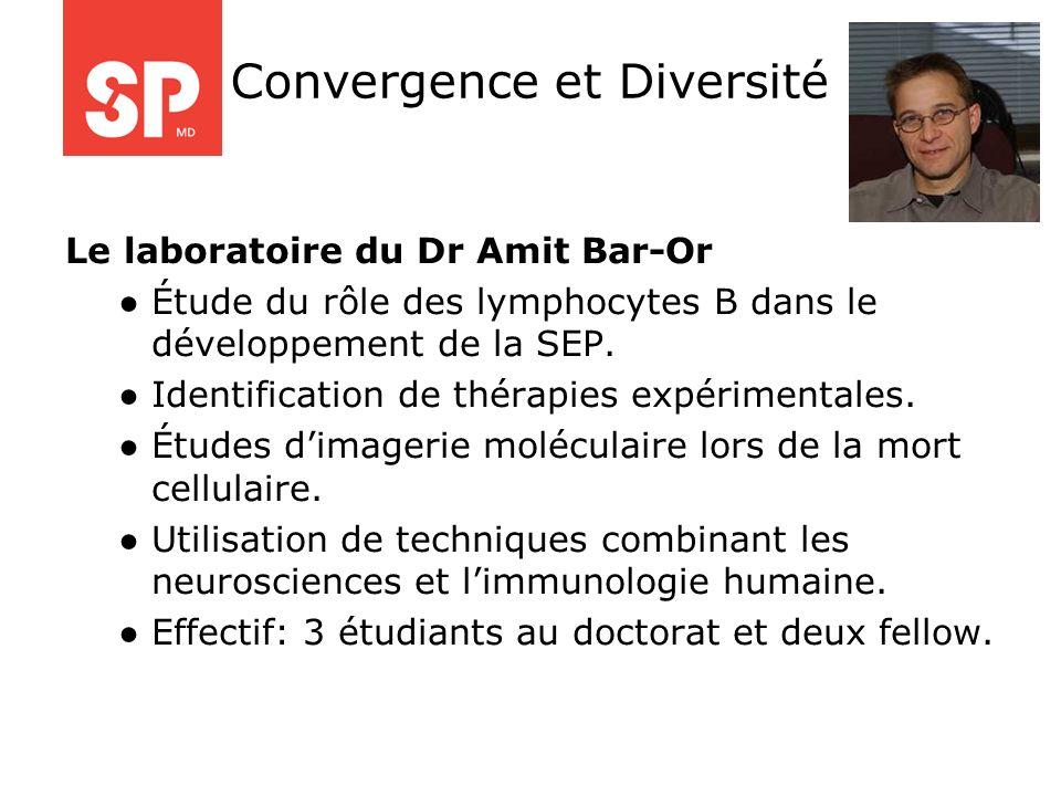 Le laboratoire du Dr Amit Bar-Or Étude du rôle des lymphocytes B dans le développement de la SEP. Identification de thérapies expérimentales. Études d