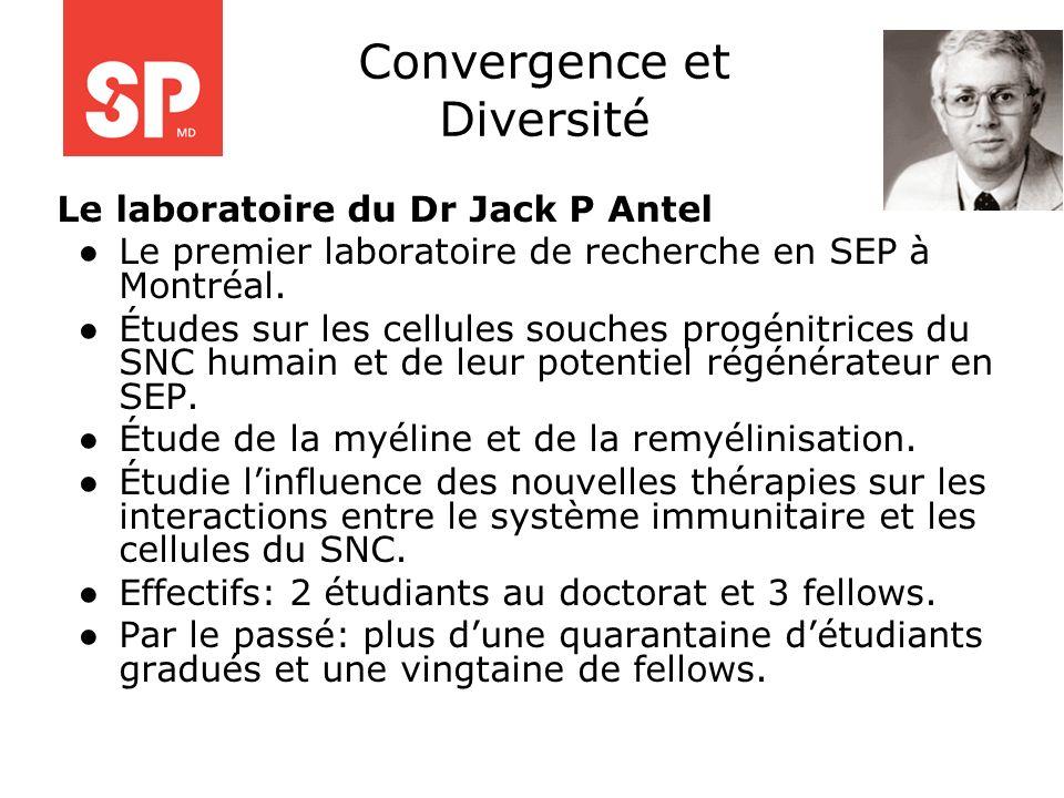 Le laboratoire du Dr Jack P Antel Le premier laboratoire de recherche en SEP à Montréal. Études sur les cellules souches progénitrices du SNC humain e