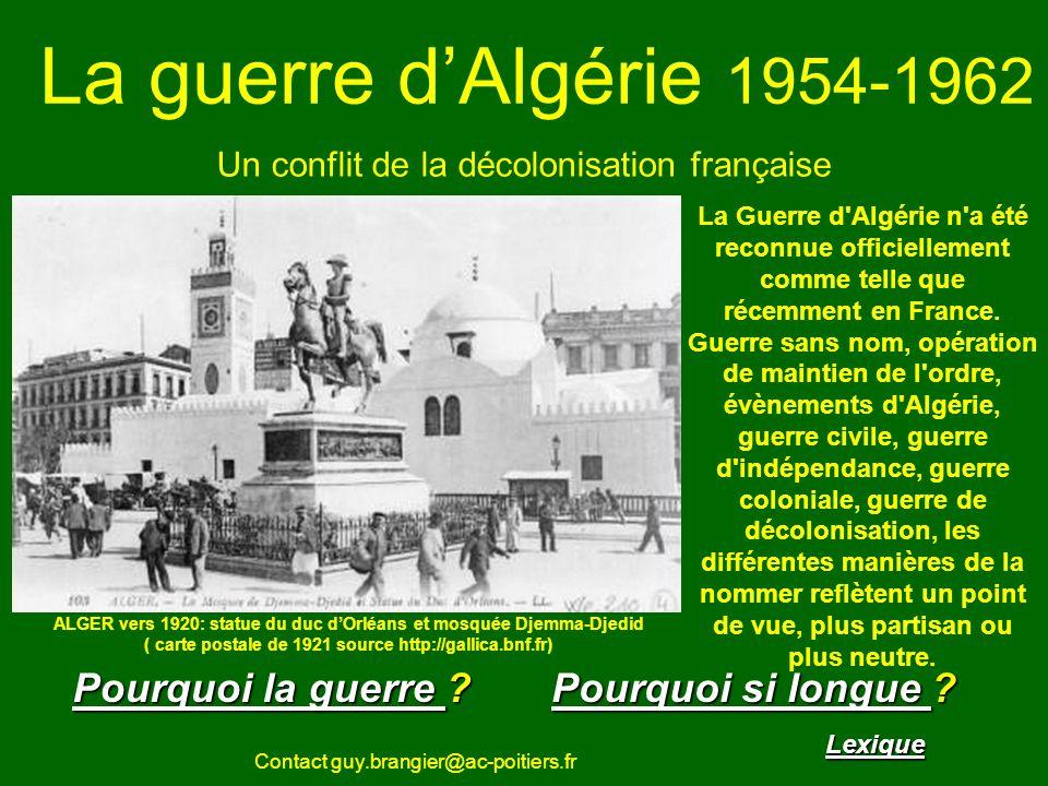 La guerre dAlgérie sommaire Bilan de la guerre d Algérie Militaires français: environ 25 000 morts Harkis: environ 60 000 morts Algériens: environ 250 000 morts ( le gouvernement algérien FLN parlera de plus du double après la guerre) Davril à juillet 1962 exode de plusieurs centaines de milliers de Pieds noirs vers la France.