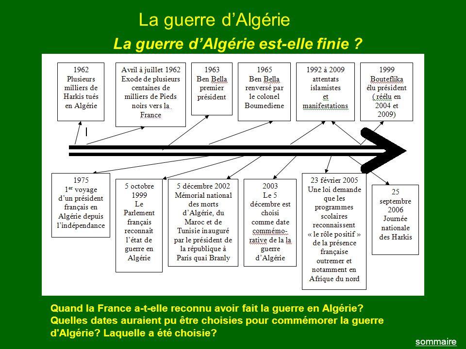 La guerre dAlgérie sommaire La guerre dAlgérie est-elle finie ? Quand la France a-t-elle reconnu avoir fait la guerre en Algérie? Quelles dates auraie