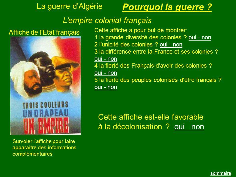 La guerre dAlgérie sommaire Affiche de lEtat français Cette affiche a pour but de montrer: 1 la grande diversité des colonies ? oui - nonoui - non 2 l