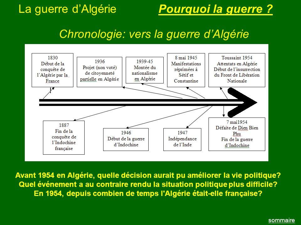 La guerre dAlgérie sommaire Pourquoi la guerre ? Chronologie: vers la guerre dAlgérie Avant 1954 en Algérie, quelle décision aurait pu améliorer la vi