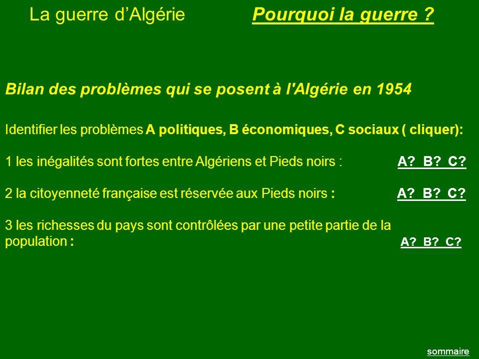 La guerre dAlgérie sommaire Pourquoi la guerre ? Bilan des problèmes qui se posent à l'Algérie en 1954 Identifier les problèmes A politiques, B économ