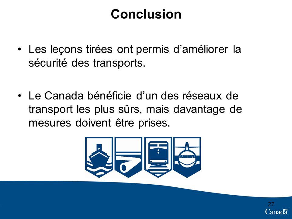 Les leçons tirées ont permis daméliorer la sécurité des transports.