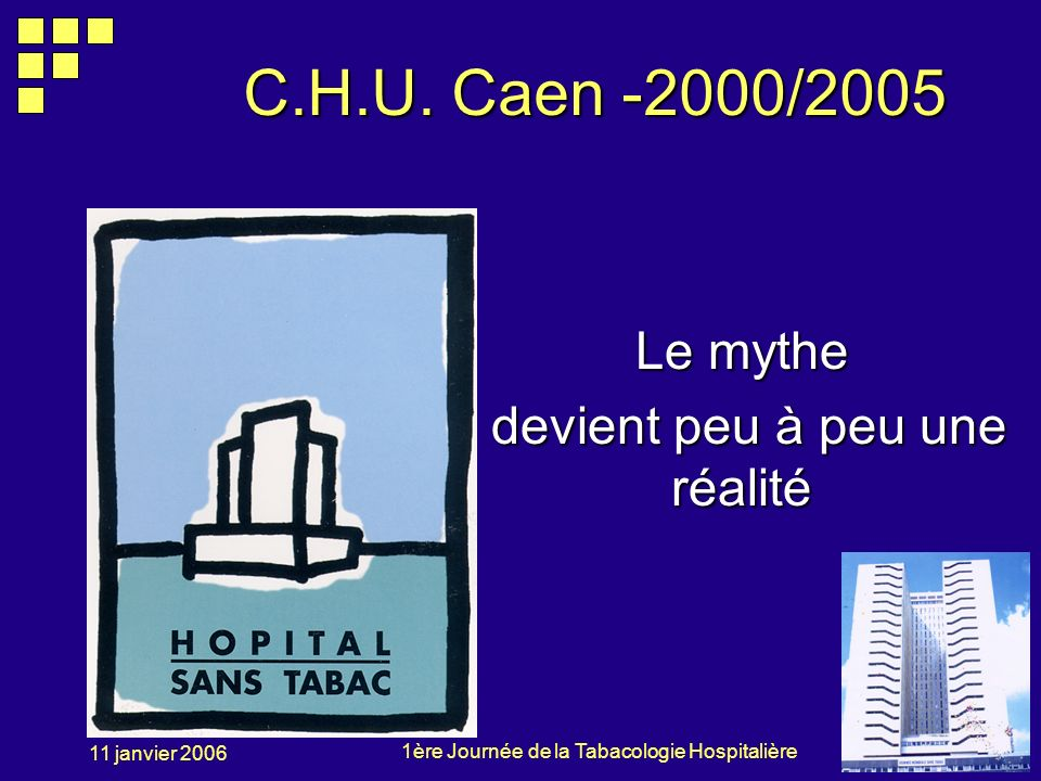 1ère Journée de la Tabacologie Hospitalière 11 janvier 2006 C.H.U. Caen -2000/2005 Le mythe devient peu à peu une réalité devient peu à peu une réalit