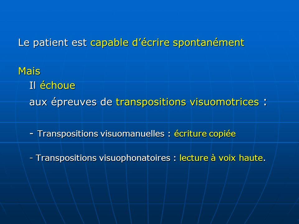 Le patient est capable décrire spontanément Mais Il échoue aux épreuves de transpositions visuomotrices : - Transpositions visuomanuelles : écriture c