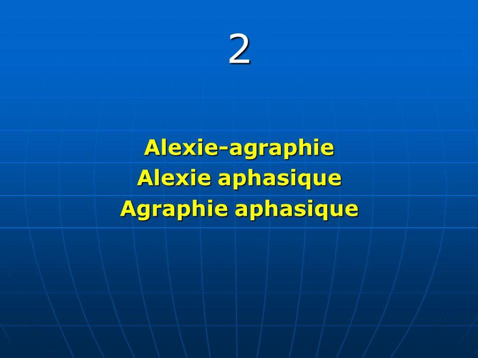 2Alexie-agraphie Alexie aphasique Agraphie aphasique