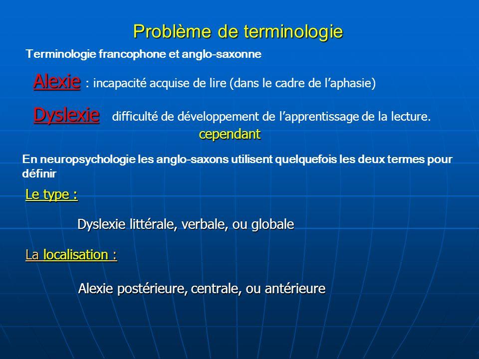 Problème de terminologie Terminologie francophone et anglo-saxonne Alexie Alexie : incapacité acquise de lire (dans le cadre de laphasie) Dyslexie Dys