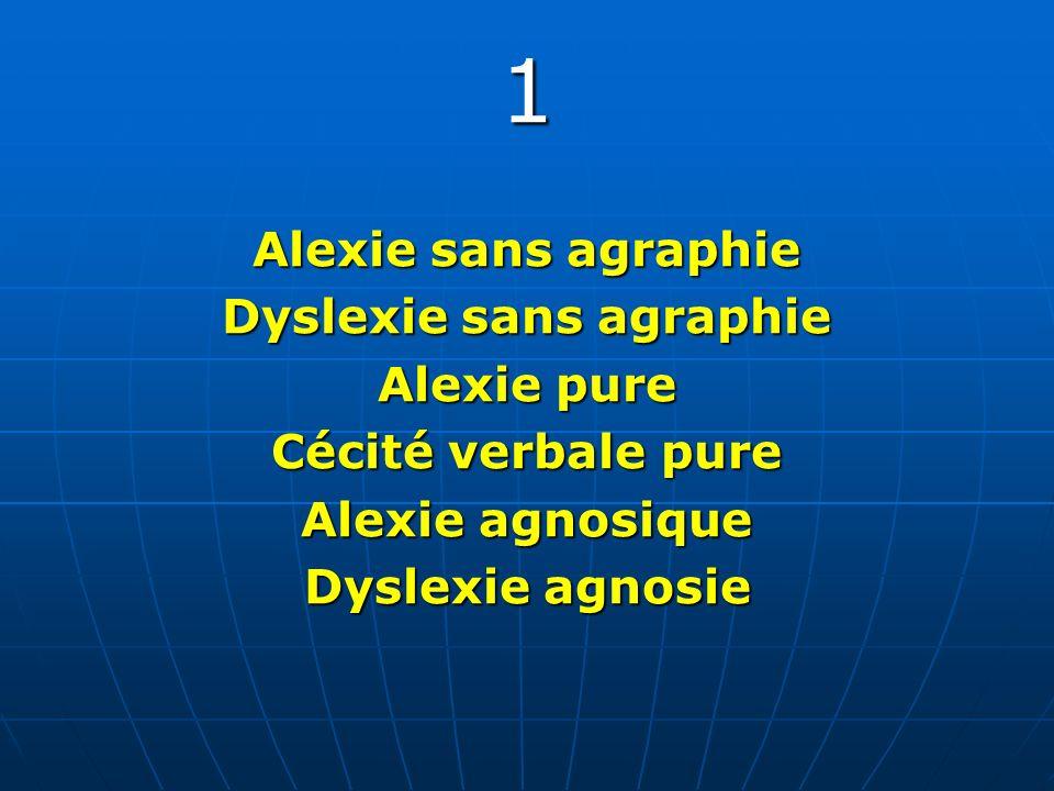 1 Alexie sans agraphie Dyslexie sans agraphie Alexie pure Cécité verbale pure Alexie agnosique Dyslexie agnosie