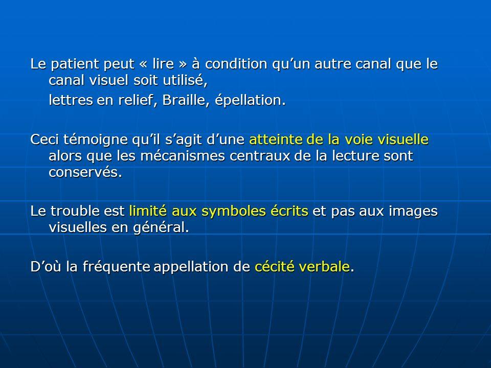 Le patient peut « lire » à condition quun autre canal que le canal visuel soit utilisé, lettres en relief, Braille, épellation. Ceci témoigne quil sag