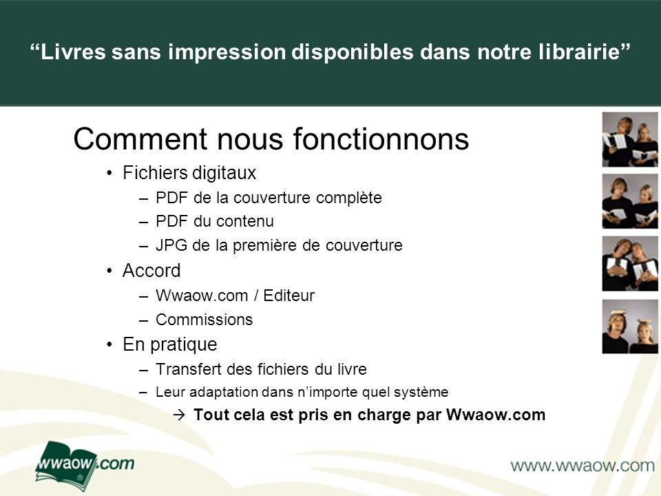 For your printed documents Comment nous fonctionnons Fichiers digitaux –PDF de la couverture complète –PDF du contenu –JPG de la première de couvertur